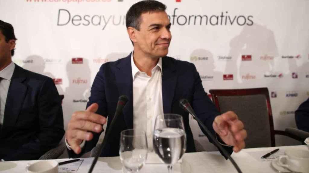 Sánchez, en la mañana de este martes en un desayuno informativo en un hotel de Madrid.