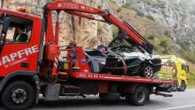 Estado en que quedo el vehículo accidentado ayer martes.