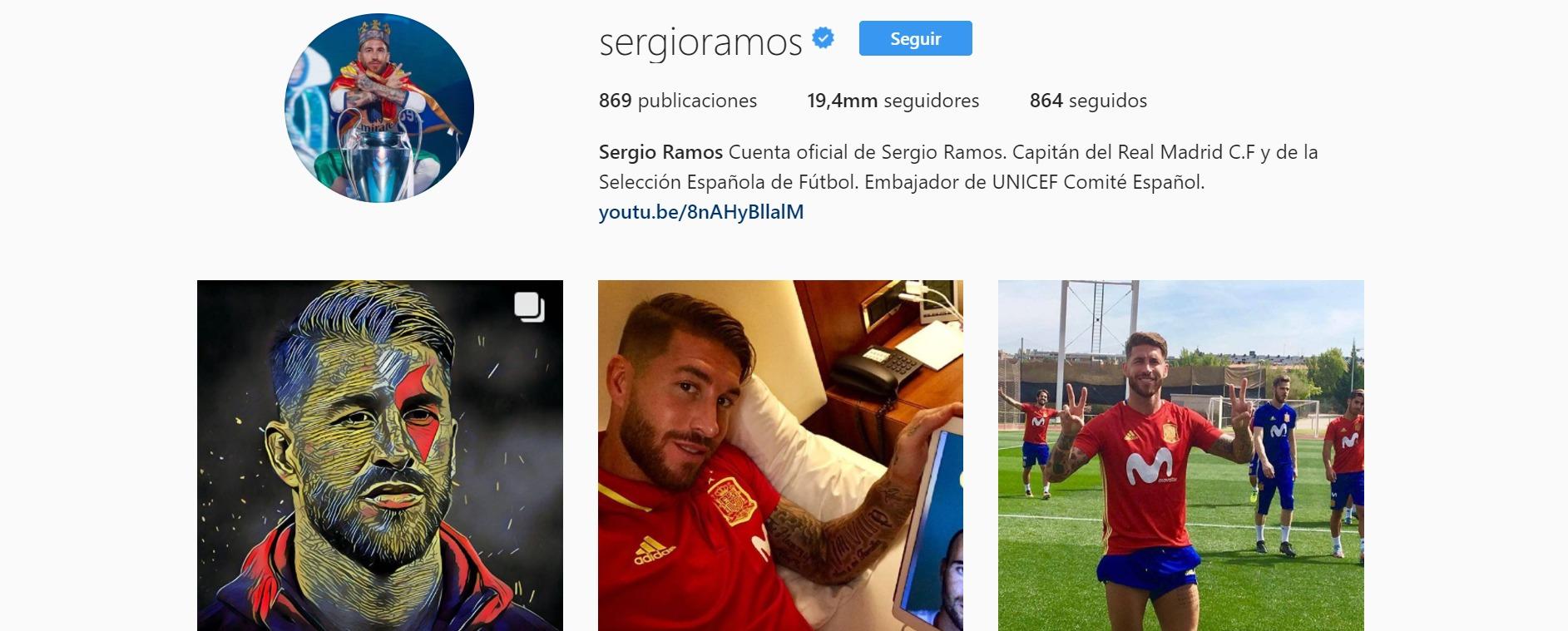 Ramos destrona a Iniesta en Instagram: el español con más seguidores de la red social