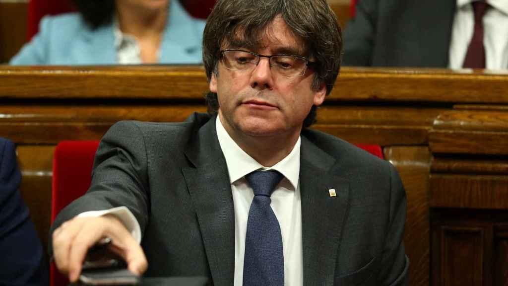 Carles Puidgemont, durante el pleno de este miércoles.