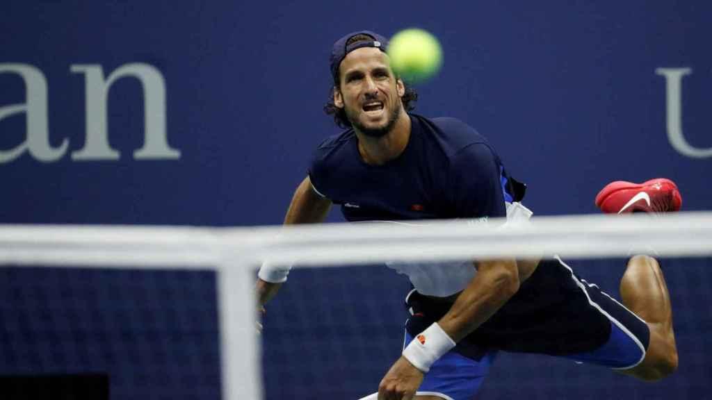 Feliciano López en un partido de este US Open.