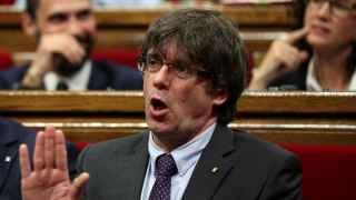 Puigdemont, en el Parlament este jueves.