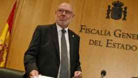 José Manuel Maza en una breve comparecencia sin preguntas en la sede de la Fiscalía General del Estado.