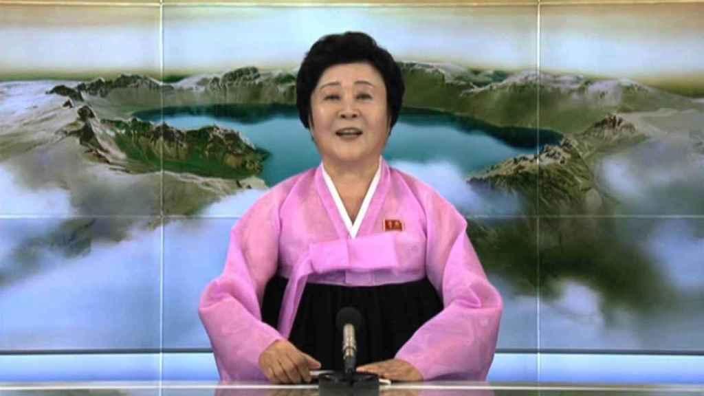 Ri Chun-Hee durante una retransmisión en televisión.
