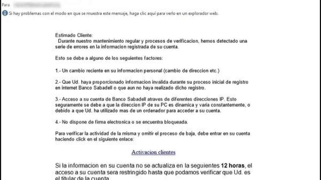Texto del correo que reciben las víctimas del ataque.