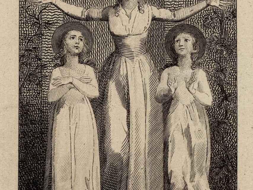 Grabado de William Blake para la primera edición de sus 'Relatos originales de la vida real' de 1791.