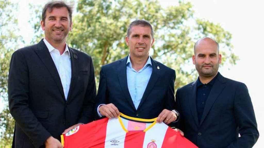 Directivos del Manchester City junto a Pere Guardiola, al anunciar la compra del Girona