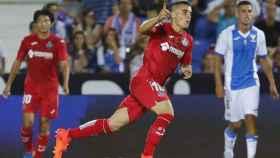 Mauro celebra el gol ante el Leganés.