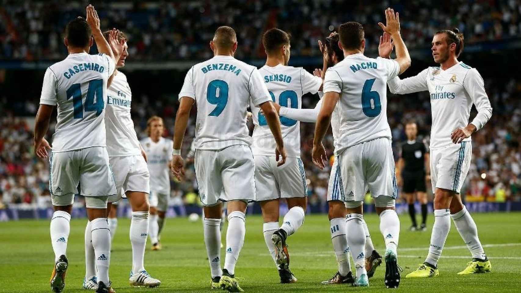 Celebración del gol del Madrid