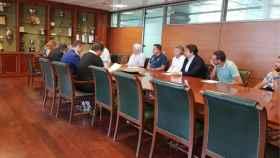 Imagen del sorteo, donde ha estado presente el presidente del CF Talavera