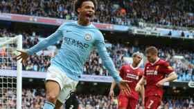 Sané celebra el gol ante el Liverpool.