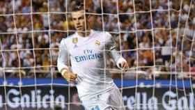 Bale celebra su gol ante el Dépor. Foto Twitter (@ChampionsLeague)