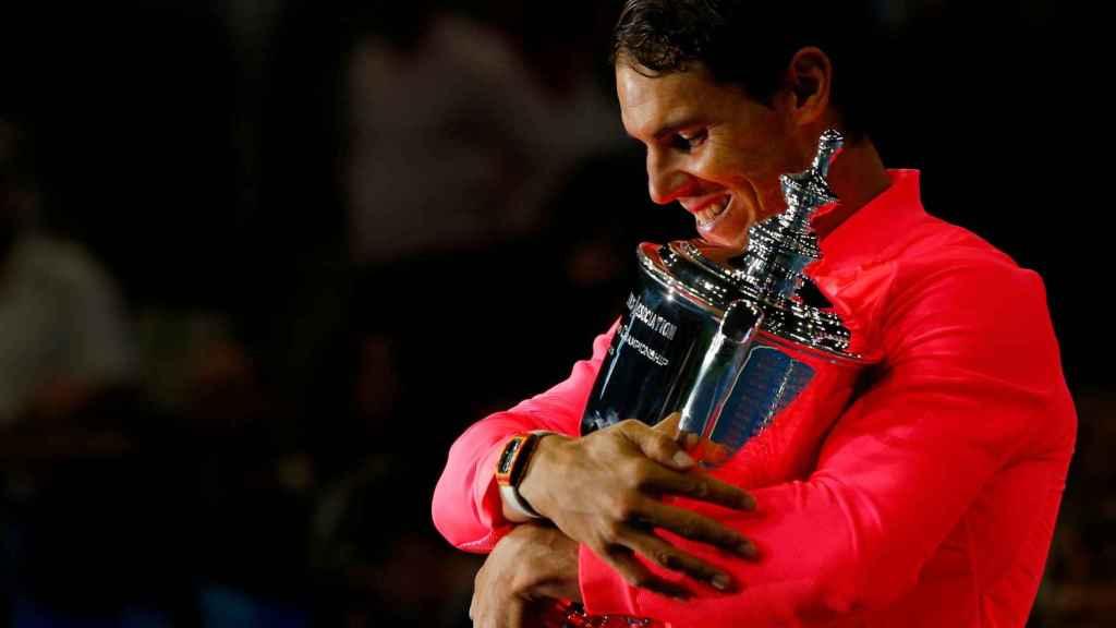 Nadal, con el título de campeón del Abierto de los Estados Unidos.
