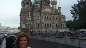 La turista sevillana frente al Palacio del Kremlin moscovita.