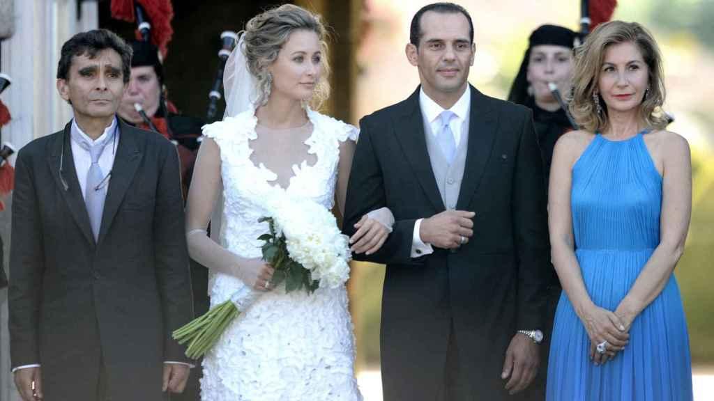 Tiziana Domínguez con sus padres y su recién marido, Juan Verde (2011).