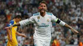 Sergio Ramos celebrando un gol ante el APOEL.