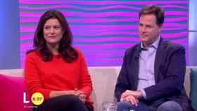Nick Clegg y Miriam González en el programa Lorraine de ITV.