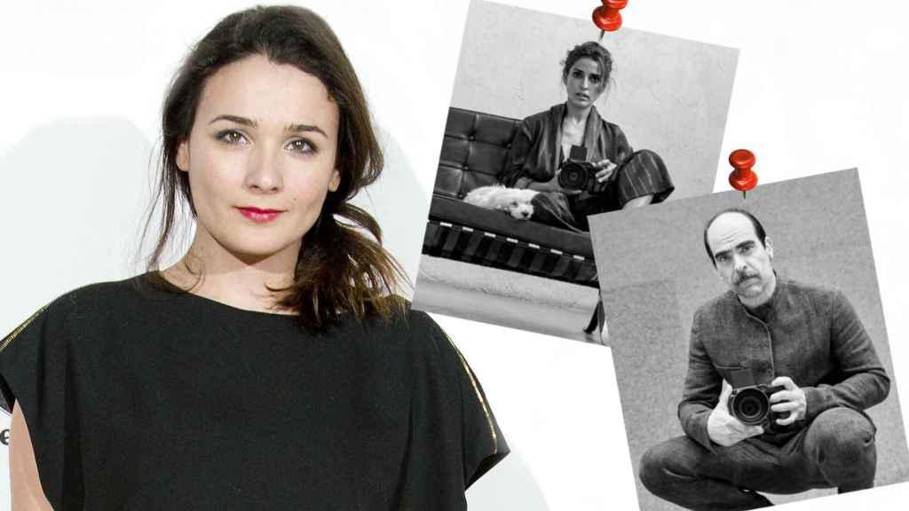 Adriana Domínguez, la hija mayor del diseñador, y los actores Luis Tosar e Inma Cuesta.