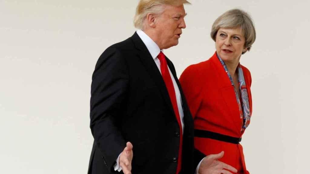 May y Trump durante la visita de la primera ministra británica a Washington en enero