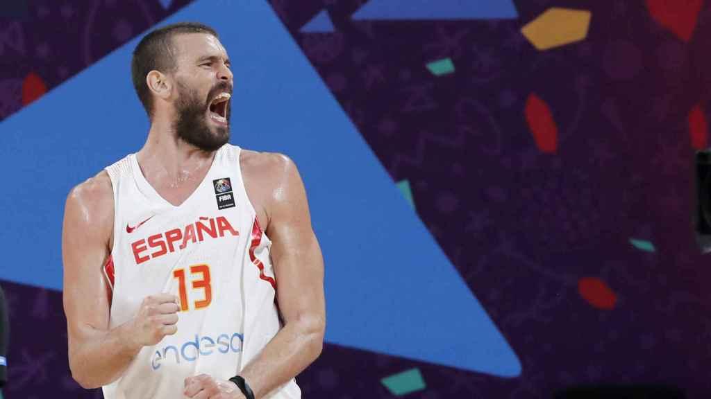 Marc Gasol celebrando una canasta contra Rusia en el Eurobasket.