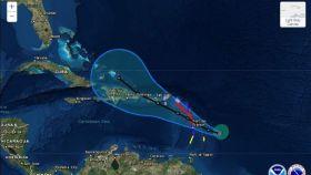 El huracán María a su llegada al Caribe y a Puerto Rico.
