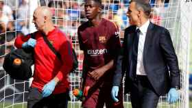 Ousmane Dembélé al retirarse del campo contra el Getafe.