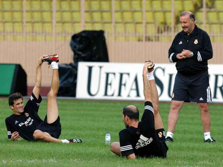 Del Bosque, durante un entrenamiento.
