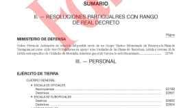 Extracto del falso Boletín Oficial del Ministerio de Defensa que llama a los reservistas.