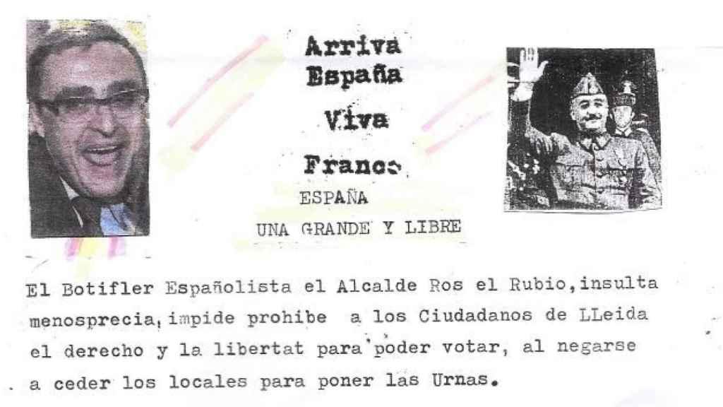 Una de las amenazas que el alcalde de Lleida, PSC, ha protagonizado.