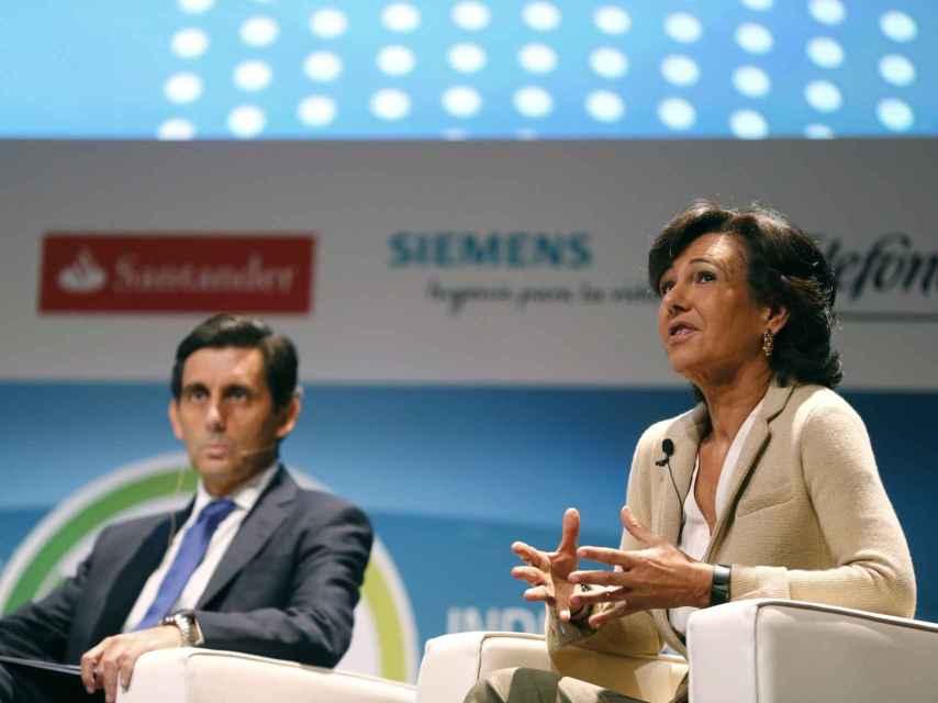José María Álvarez Pallete, presidente de Telefónica y Ana Botín, presidenta del Santander