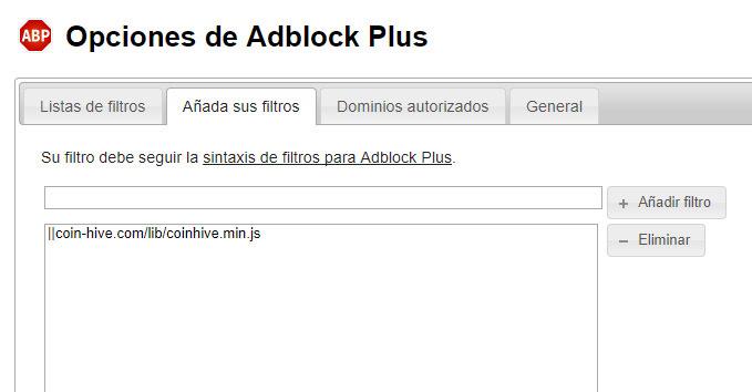 adblock plus filtro mineria bitcoin