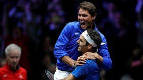 Nadal y Federer juntos en la Laver Cup 2017.