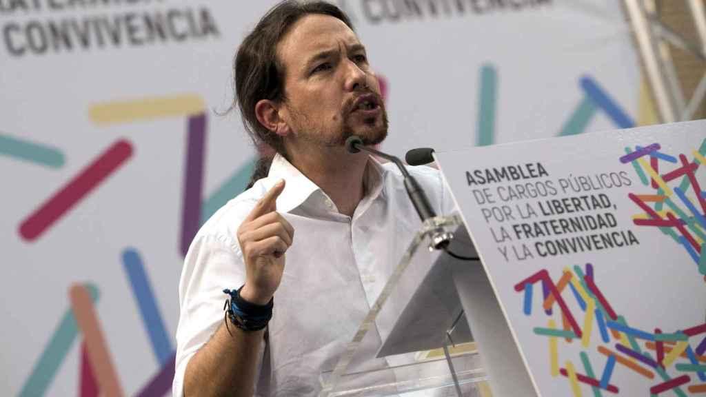 Pablo Iglesias en la asamblea de electos de Zaragoza.