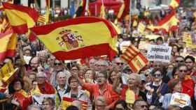 Concentración en favor de la unidad de España celebrada en la plaza Cataluña un 12-O. / EFE