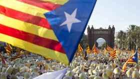 Una 'senyera' en una manifestación por la independencia de Cataluña.