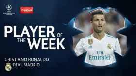 Cristiano Ronaldo, jugador de la semana de la Champions. Foto Twitter (2ChampionsLeague)