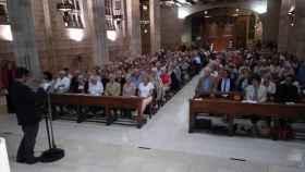 Iglesia de Nuestra Señora de Pompeya de Barcelona durante la plegaria por el 1-O el jueves.