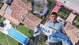 Alexander Grinberg, presidente del Club de Fútbol Marbella y vista aérea de una de las mansiones utilizadas por la mafia.
