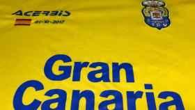 Detalle de la camiseta que utilizará el equipo canario en el Camp Nou.