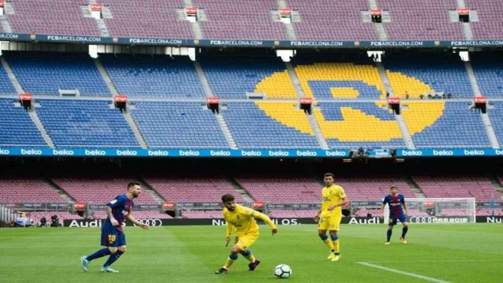 Barça - Las Palmas, a puerta vacía. Foto: Twitter (@elchiringuitotv)