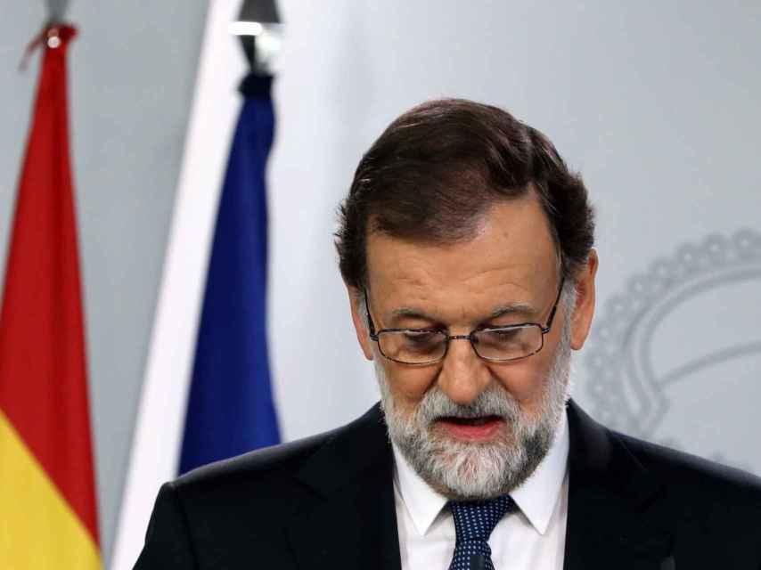El presidente del Gobierno, Mariano Rajoy, en su declaración institucional de este domingo.