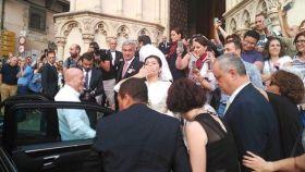 Momento de la llegada de la novia a la Catedral de Cuenca.