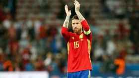 Sergio Ramos en un partido con la Selección