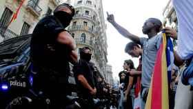 Concentración de estudiantes este lunes en Barcelona.