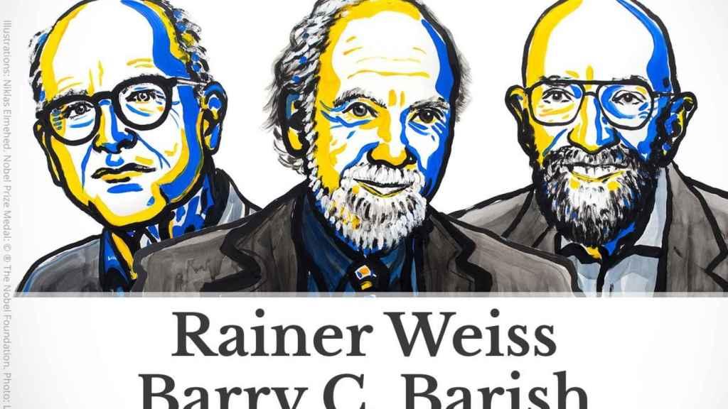 Rainer Weiss, Barry C. Barish y Kip S. Thorne ganan el nobel de Física.