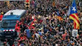 Un momento de la manifestación de este martes en Barcelona.