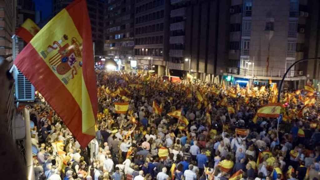 Concentración a favor de la Guardia Civil en Zaragoza.