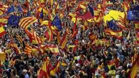 Marcha contra la independencia el pasado 30 de septiembre en Barcelona.
