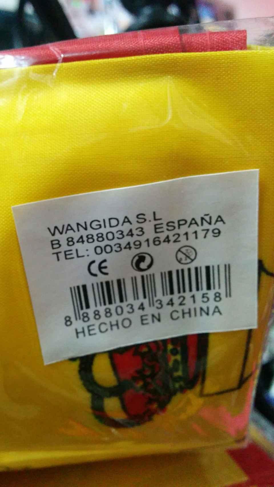 Etiqueta de los productos españolistas vendidos en comercios chinos: todos llevan a Cobo Calleja