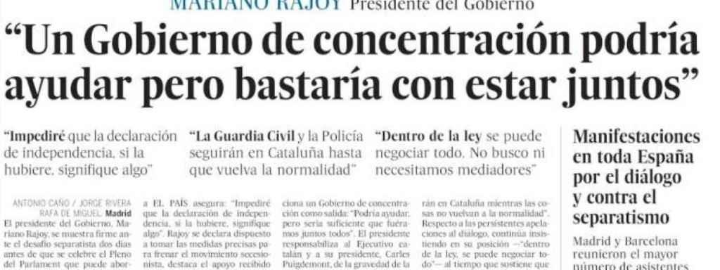 Imagen de la portada impresa de 'El País' de este domingo.